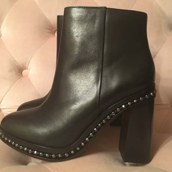 39b48053f8d Coach Justina Leather Studded Booties Black Sz 8.5