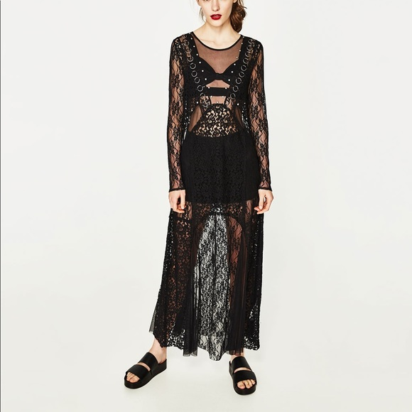27e82d45a064c Zara Dresses | Trf Black Long Lace Dress | Poshmark