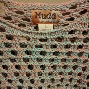 Pink/blue Crochet Mudd Sweater