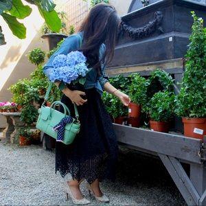 • h&m • black guipure lace midi skirt