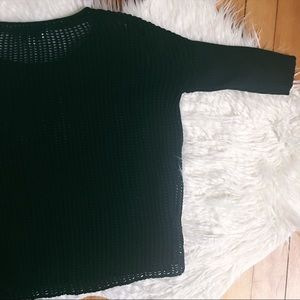 roots canada Tops - Black Loose Knit Half Sleeve Sweater Top
