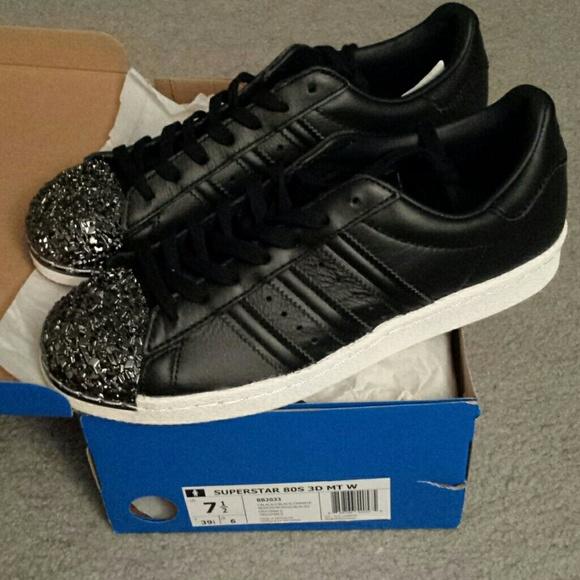 Adidas zapatos 80s 3D negro Gun Metal Shell superestrellas poshmark