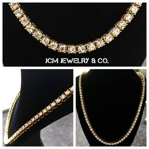 """Other - 14K Gold Plated Single Row Iced Out 24"""" Necklace"""