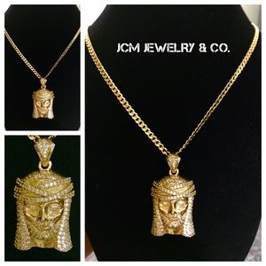 Other - 14K Gold Plated 3MM Cuban w/Micro Jesus Medallion