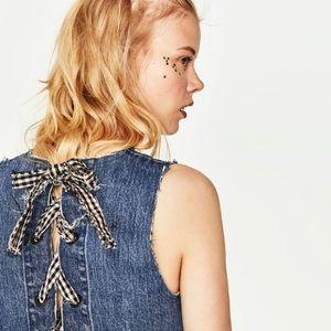 Zara denim crop top with gingham bows
