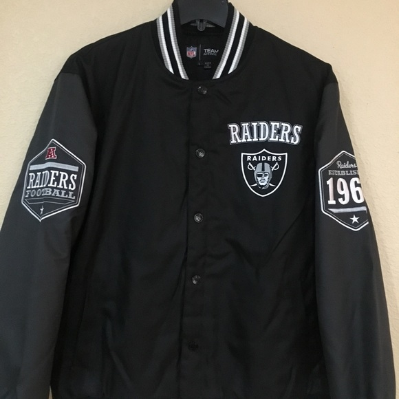 ac2d5e4a Oakland Raiders Men's Poly-Twill Black/Gray Jacket NWT