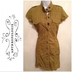 Tulle Green Military Drop Waist Button Down Dress
