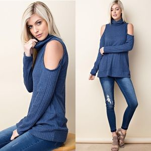 Tops - Turtle Neck Cold Shoulder Knit Top