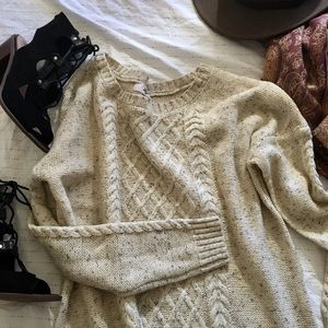 Heather cream cable knit sweater dress