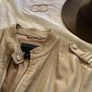 Beige vegan leather jacket