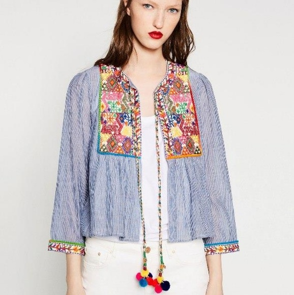 Zara Jackets Coats Embroidered Pom Pom Stripe Jacket Poshmark