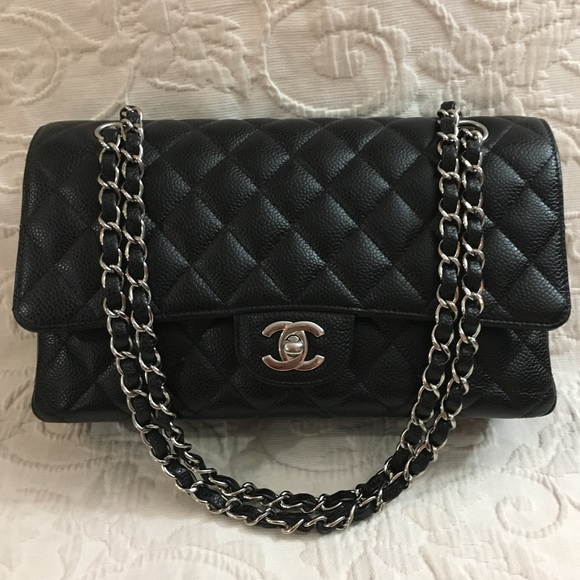 8090b5c31789 CHANEL Bags | Medium Flap Caviar Black Silver Hardware | Poshmark