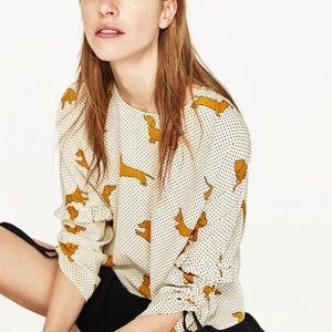 Zara short blouse with dog print