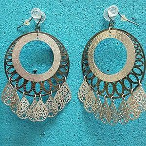 2 tone metal earrings