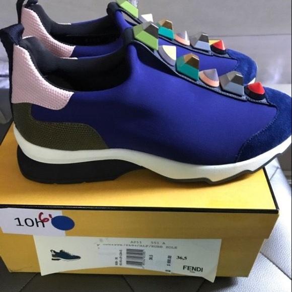 Fendi Shoes | Irisblue Leather Stud