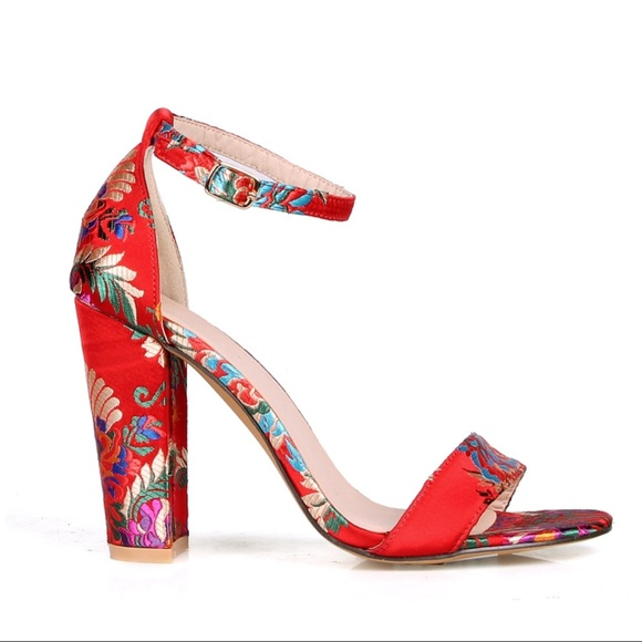 1e136510b312 LARISSA Red Floral Satin Brocade Ankle Strap Heel