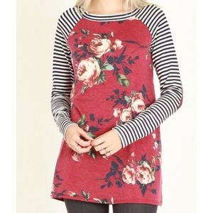 Tops - Burgundy floral and striped top