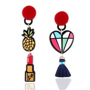 Jewelry - Pineapple Heart Lipstick Tassel Earrings 🍍💄❤️