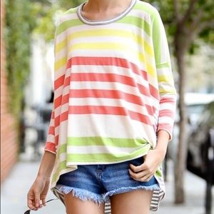 Tops - Striped top high low cut
