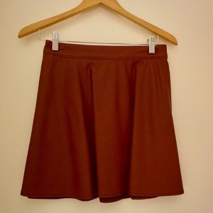 Abercrombie & Fitch Red Faux Leather Skater Skirt