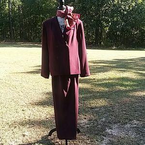 Suit by Laura Scott  burgundy color