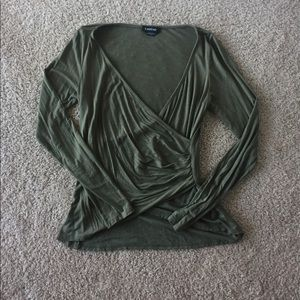 Olive wrap front tee