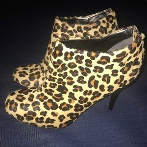 Kenneth Cole Pony Hair Cheetah Print Booties