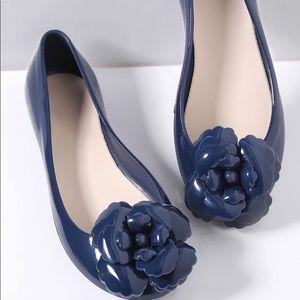 Navy Flower Embellished Ballet Flats