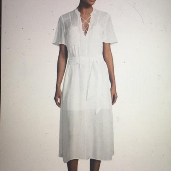 55fd9d81b3f Frame Denim lace up midi shirt dress