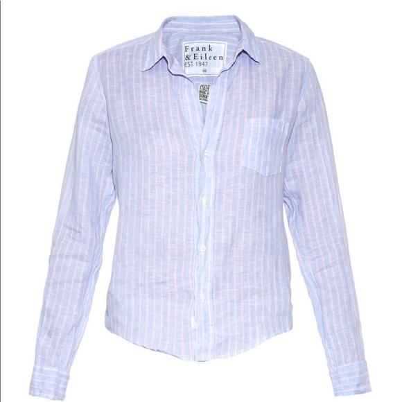 20a29fef Frank & Eileen Tops | Frank Eileen Blue And Pink Striped Linen Shirt ...