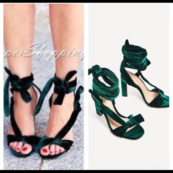 9945744e9be Zara green velvet Lace up tie heel sandals 6.5 37