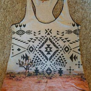 Tops - Desert landscape/tribal print tank