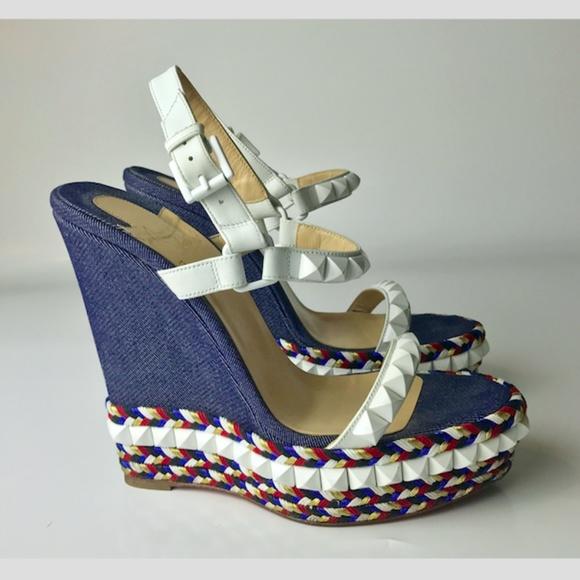 more photos 185a4 c4b42 Louboutin Cataclou 140 Denim Wedges Euro 38