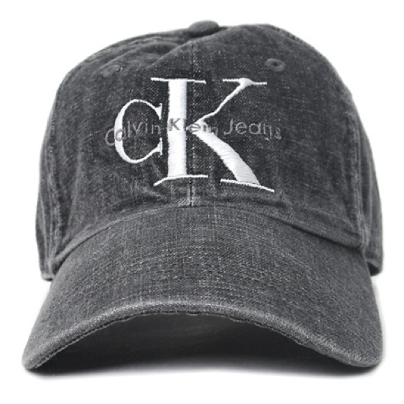 Calvin Klein Faded Black Denim Dad Hat Cap 09c534347e1