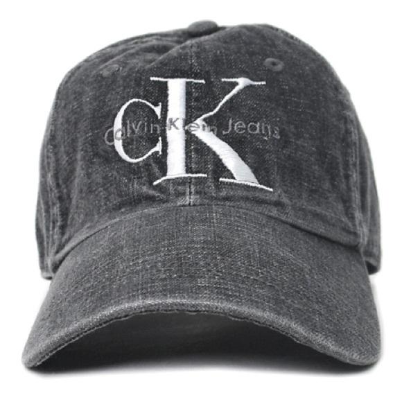 Calvin Klein Faded Black Denim Dad Hat Cap 68728a832a3