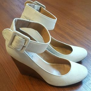 Cream canvas wedges with ankle strap