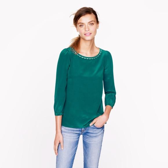78c12b9fa9fcbe J. Crew Tops | J Crew 100 Silk Emerald Green Blouse Size 6 | Poshmark