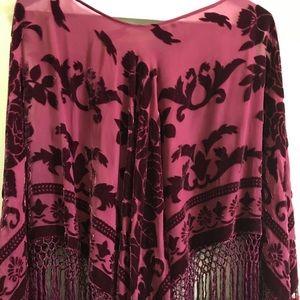 Tops - Burgundy Sheer Poncho with Velvet Detail