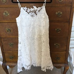 White lace fully lined dress