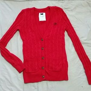 Gilly Hicks Fire Engine Red 5-Button Cardigan