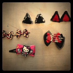 Hot Topic hair bow clips 🐱ears skull Halloween