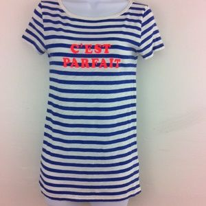 J.Crew C'est Parfait blue striped top.