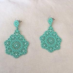 Zara mint colored drop earrings. NWOT.