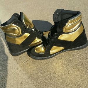 ASOS brand black and gold sneaker wedges