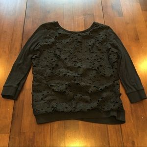 Wallpapher Knit Shirt with Lace Overlay
