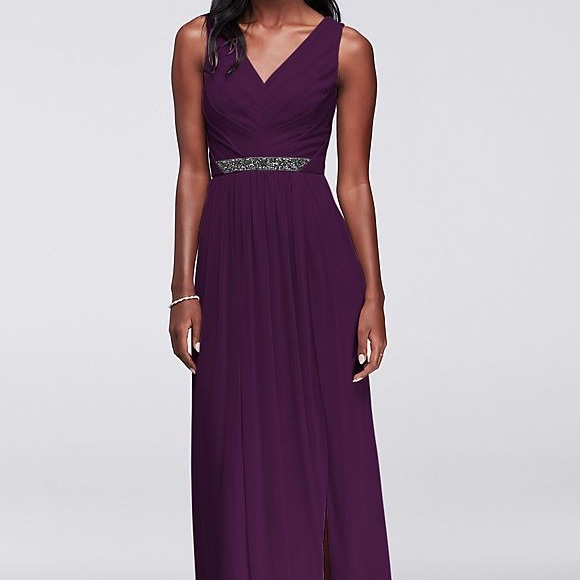 0fc866eadb David s Bridal Dresses   Skirts - Long Mesh Dress with V-Neck and Beaded  Waistband