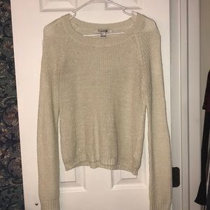 Cream Forever 21 Crew neck Sweater with gold