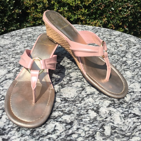 1f5947405 Lilly Pulitzer Shoes - Lilly Pulitzer Leather McKim Wedge Sandal Pink 8.5