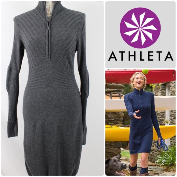 73% off Athleta Dresses & Skirts - Athleta Rib Half Zip Sweater ...