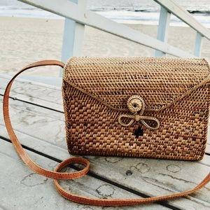 Rectangle Rattan Bag with Batik Fabric Interior